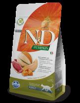 N&D CAT - PUMPKIN DUCK&CANTALUPE ADULT – пълноценна храна с тиква за котки над 1 година, с патица и пъпеш - 1.5 кг.