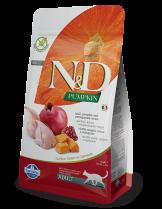 N&D CAT - PUMPKIN QUAIL&POMEGRANATE ADULT – пълноценна храна с тиква за котки над 1 година, с пъдпъдък и нар - 0.3 кг.