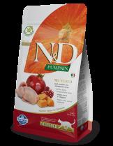 N&D CAT - PUMPKIN QUAIL&POMEGRANATE ADULT Neutered – пълноценна храна с тиква за кастрирани котки над 1 година, с пъдпъдък и нар - 0.3 кг.