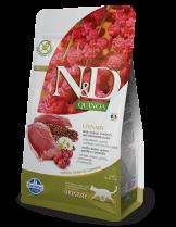 N&D - QUINOA URINARY DUCK, CRANBERRY – пълноценна храна с киноа за котки над 1 г. за уринарен тракт с патица, червена боровинка и лайка - 0.3 кг.