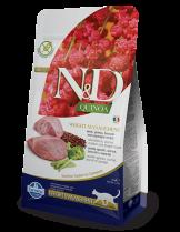 N&D - QUINOA WEIGHT MANAGEMENT LAMB, BROCCOLI – пълноценна храна с киноа за котки над 1 г. за контрол на теглото с агнешко, броколи и аспержи- 0.3 кг.
