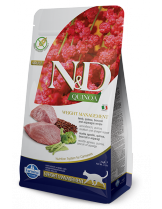 N&D - QUINOA WEIGHT MANAGEMENT LAMB, BROCCOLI – пълноценна храна с киноа за котки над 1 г. за контрол на теглото с агнешко, броколи и аспержи- 1.5 кг.
