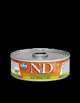 N&D Cat Boar & Pumpkin & Apple - високо качествена консерва за котки с месо от глиган, тиква и ябълка - 80 гр.