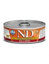 N&D Cat Qual & Pumpkin - високо качествена консерва за котки с месо от пъдпъдък и тиква - 80 гр.