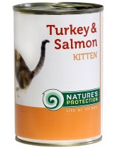 NATURE'S Protection - Kitten Turkey & Salmon - Високо качествена консера  за подрастващи котки от 1 месец до 1 година с пуйка и сьомга - 0.400 кг.