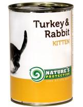 NATURE'S Protection - Kitten Turkey & Rabbit - Високо качествена консера  за подрастващи котки от 1 месец до 1 година с пуйка и заек - 0.400 кг.