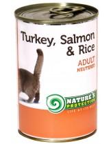 NATURE'S Protection - Neutered Turkey, Salmon & Rice - Високо качествена консера  за израстнали котки над 1 година с пуйка, сьомга и ориз - 0.400 кг.