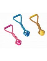 Nobby - Spielseil mit Tennisball und Griff - гумена играчка вуже с тенис топка за куче - 33 см.