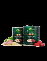 Nuevo Super Premium food for Dogs Junior - Chicken & Beef and Rise - Високо качествена консерва за кучета до 1 година с пилешко и говеждо месо - ориз - 0.400 кг.