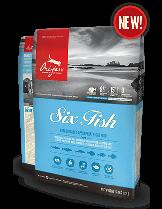 Orijen Six Fish Cat New Formula - пълноценна храна без зърнени съставки с шест вида риба, за котки над 1 година - 5.4 кг.