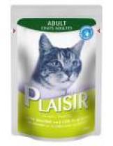 Plaisir Cat Pauch with Salmon and Cod in gravy - неустоим пауч за котки над 1 година със сьомга и риба треска - хапки в сос грейви - 100 гр.