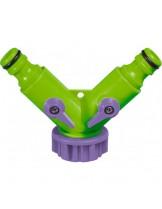 """PALISAD - 2-канален, регулируем, пластмасов разклонител с вътрешна резба 3/4"""""""